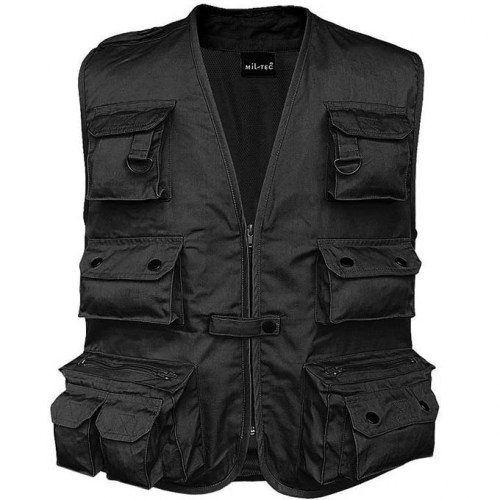 miltec hunting & fishing vest with mesh lining-black