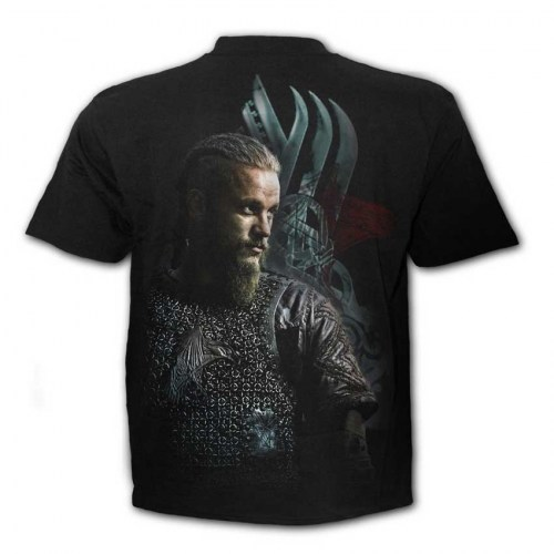 FG201633 Tshirt Ragnar Face Vikings Black SpiralDirect