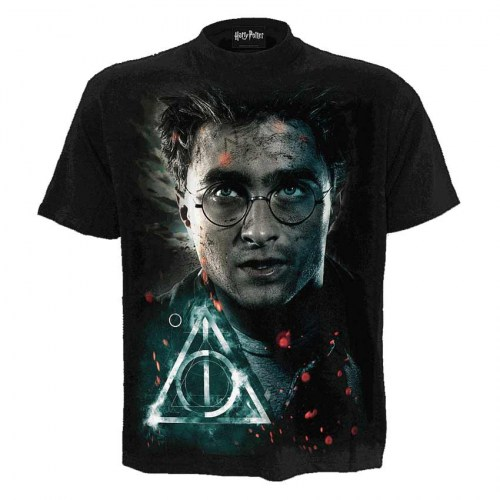 FG241624 Tshirt Deathly Hallows Harry Potter Black SpiralDirect