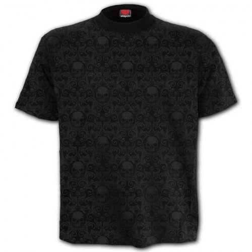 PL639 Tshirt Scroll Impression Urban Fashion Black SpiralDirect