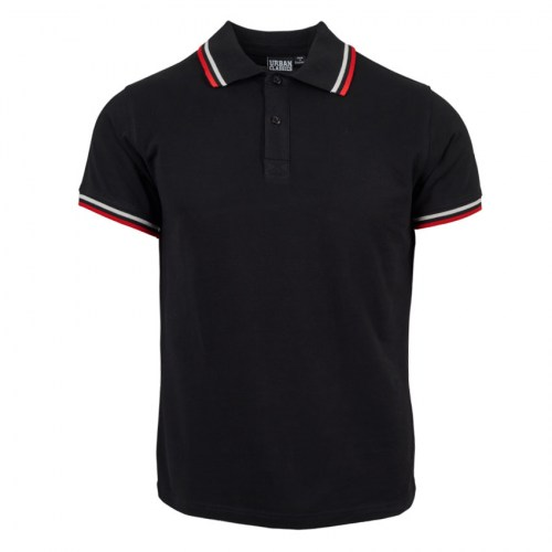 Tshirt Polo Double Stripe Black-red-white